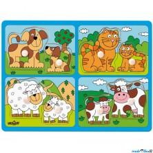 Puzzle vkládací - Domácí zvířata s mláďaty, 8ks (Woody)