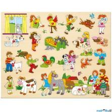 Puzzle vkládací - Maxi, Rodina se zvířátky, 21ks (Woody)