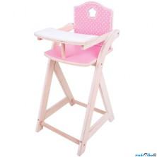 Židlička pro panenky - Dřevěná krmící (Bigjigs)