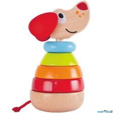 Skládačka s kroužky - Pejsek Pepe se zvukem (Hape)