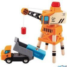 Vláčkodráha jeřáby - Překládací jeřáb s nákladním autem (Hape)