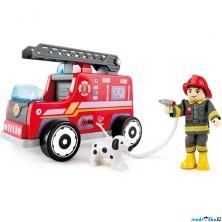 Auto - Hasičský vůz s hasičem dřevěný (Hape)