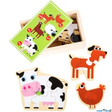 Puzzle dřevěné - V krabičce, Zvířatka z farmy, 20ks (Legler)
