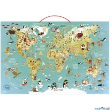 Puzzle magnetické - Nástěnná mapa světa, 78 dílků (Vilac)