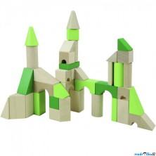 Kostky - Barevné, Dřevěné kostky XL, 45ks (Detoa)