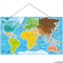 Puzzle magnetické - Mapa svět v obrázcích, 2v1 (Woody)