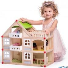 Domeček pro panenky - Dvoupatrový s balkonem (Woody)