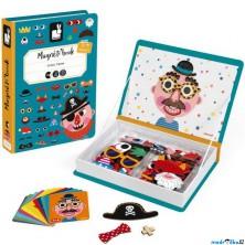 Puzzle magnetické - Kniha, Zábavné tváře chlapci (Janod)