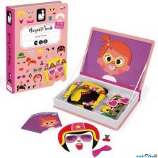 Puzzle magnetické - Kniha, Zábavné tváře dívky (Janod)