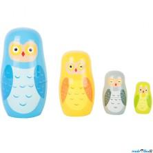 Dřevěná hračka - Matrjoška, Soví rodina (Legler)