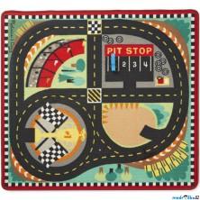 Dětský koberec - Závodní dráha + 4 dřevěné autíčka (M&D)