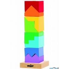 Skládačka - Věž z kostek, hlavolam - pastelové barvy (Woody)