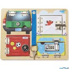 Puzzle odkrývací - Se zámky a klíčem, 4ks (M&D)