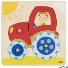 Puzzle odkrývací - Traktor s točícími kolečky (Goki)