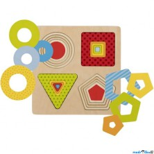 Puzzle vícevrstvé - Geometrické tvary, 4 vrstvy (Goki)
