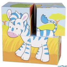 Kostky obrázkové 4ks - Zvířátka (Goki)