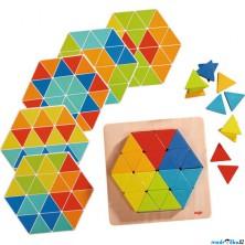 Mozaika - Vkládačka barevné trojúhelníky, 36 dílků (Haba)
