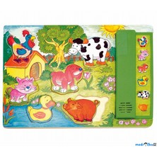 Puzzle muzikální - Zvířata na zahradě, zelené, 6ks (Woody)