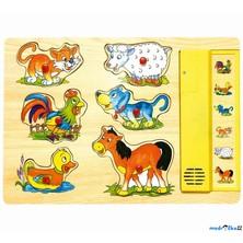 Puzzle muzikální - Domácí zvířata, žluté, 6ks (Woody)