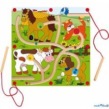 Motorický labyrint - Magnetická hra, Nakrm zvířátka (Woody)