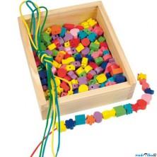 Navlékací perle v dřevěné krabici - Tvary, 200ks (Woody)