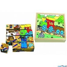 Kostky obrázkové 16ks - Mašinka (Woody)