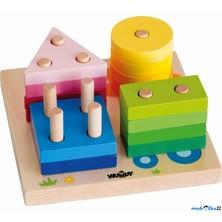 Skládačka - Základní tvary na desce s obrázky (Woody)