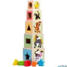 Pyramida - Věž z 5 kostek, Zvířátka (Woody)