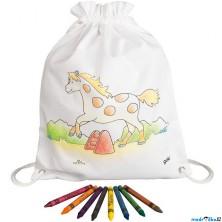 Malování na textil - Pytlík baťůžek + voskovky, Kůň (Goki)