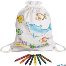 Malování na textil - Pytlík baťůžek + voskovky, Mořská zvířata (Goki)