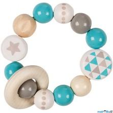 Chrastítko - Kroužek korálkový tyrkysový Hvězda (Heimess)