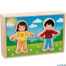 Puzzle oblékání - Šatní skříň holka a kluk, 36ks (Goki)