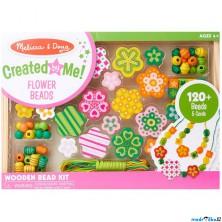 Navlékací perle - Set korálků, Květiny 120ks (M&D)