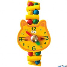 Dřevěná bižuterie - Hodinky kočka (Bino)