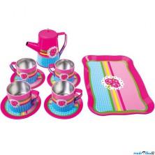 Kuchyň - Dětský kávový set, plechový, Květy (Bino)