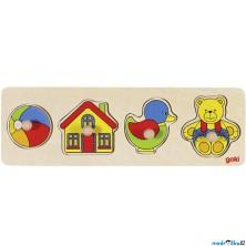 Puzzle pro nejmenší - Úchyt, Hračky, 4ks (Goki)