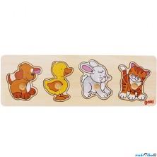 Puzzle pro nejmenší - Úchyt, Zvířátka s pejskem, 4ks (Goki)
