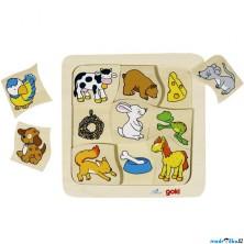 Puzzle výukové - Co jedí zvířátka (Goki)