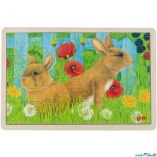 Puzzle na desce - Králíci na zahradě, 24ks (Goki)