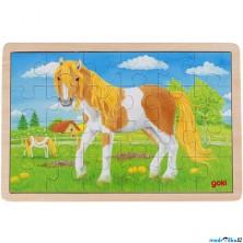 Puzzle na desce - Léto na koňské louce, 24ks (Goki)