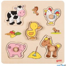 Puzzle pro nejmenší - Úchyt nevšední, Farma, 4ks (Goki)