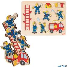 Puzzle vkládací - Balanční hasiči, 8ks (Goki)