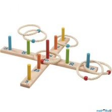 Hra s kroužky - Házení kroužků na kříž barevné (Goki)