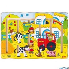 Motorický labyrint - Puzzle, Na farmě (Goki)