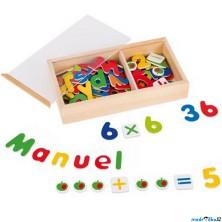 Magnetky - Dřevěná magnetická čísla a písmena, 89ks (Goki)