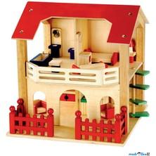 Domeček pro panenky - S terasou a vybavením (Bino)