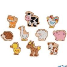 Zvířátka dřevěné - Sada zvířátek z farmy, 10ks (Goki)