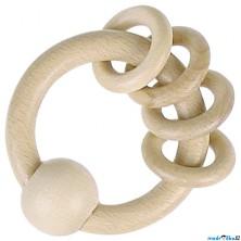 Chrastítko - Kroužek do ruky, S kroužky přírodní (Heimess)