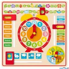 Hodiny - Víceúčelový kalendář s hodinami (Woody)