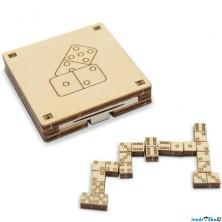 Domino - Cestovní mini hra, přírodní dřevo (Wooden City)